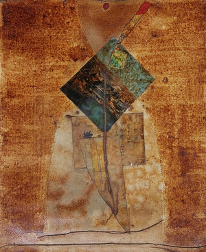 Coffee Collage on cotton | 37cm x 30cm | 1996